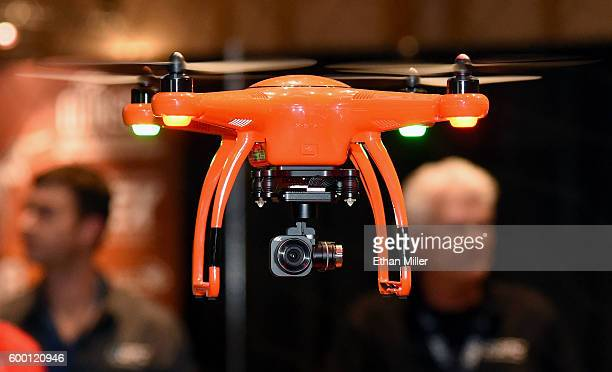 An Autel Robotics XStar Premium drone is flown at InterDrone an international drone conference and exposition for commercial drones at the Paris Las...