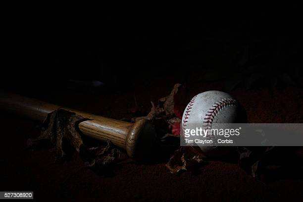 An authentic Rawlings used baseball from the 2012 Major League Baseball season showing the red stitching and markings 26th May 2012 Photo Tim Clayton