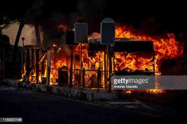 An autobus of Roman public transport Atac is on fire in Via Palmiro Togliatti on July 2 2019 in Rome Italy Atac press office said that the fire was...