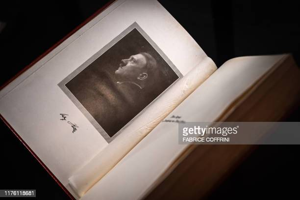 An autographed original edition of Adolf Hitler's Mein Kampf book is displayed at Martin Bodmer Foundation during the War and Peace exhibition on...