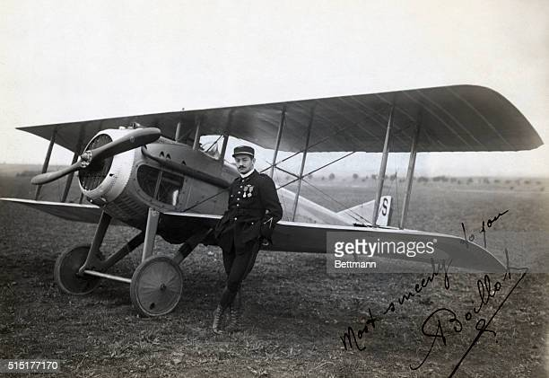 An autographed photo of Georges Boillot beside his Nieuport Bebe.