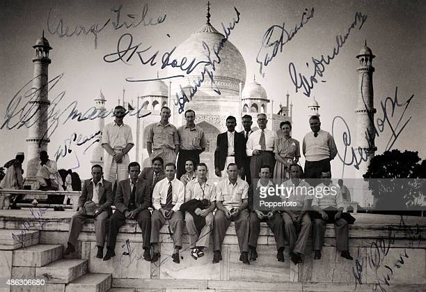 An autographed snapshot featuring some members of the Commonwealth cricket team enjoying the sights in India with a visit to the Taj Mahal circa...