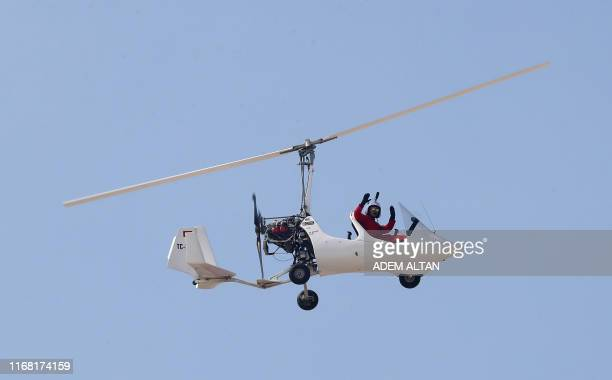 An autogyro performs during the Sivrihisar Airshow in Sivrihisar district of Eskisehir on September 14 2019