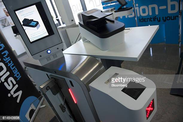 An automated border control eGate system based on facial recognition sits on display at the VisionBox Solucoes De Visao Por Computador SA offices in...