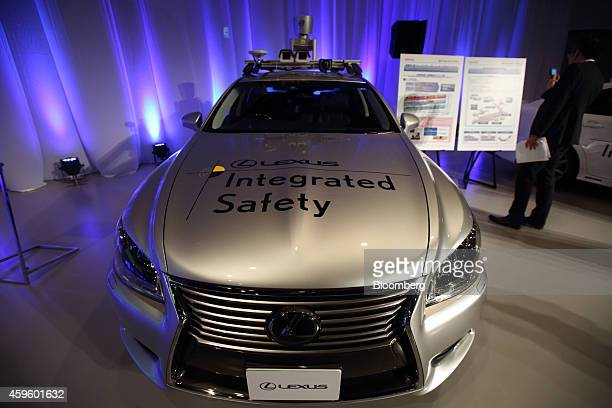 An automated driving technology test vehicle for public roads based on a Toyota Motor Corp Lexus vehicle is displayed during a demonstration in Tokyo...
