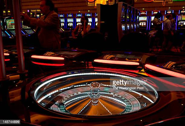 An automated Roulette wheel spins at one of the gaming tables Tuesday May 29 2012 in Hanover MD The 330000totalsquare feet of gaming floor includes...