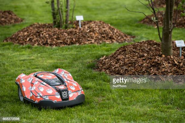 An automatic lawn mower is pictured during the opening of the IGA 2017 in Berlin Germany on April 13 2017 The exhibition will open from April 13...