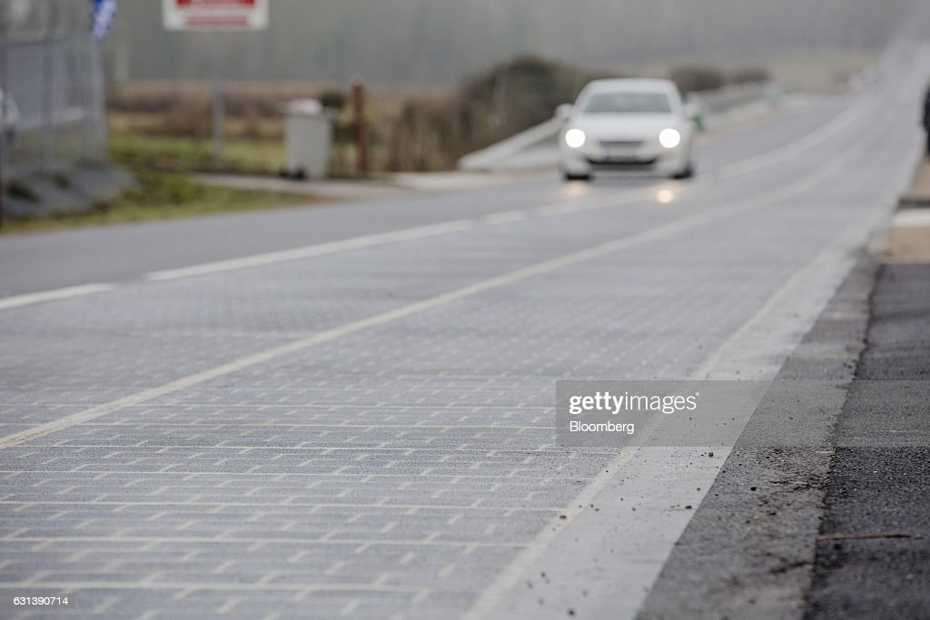 Wattway's Solar Panel Road Powers Town's Public Lighting : News Photo