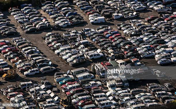 An automobile junkyard near Charles M Schulz Airport is viewed from the air on October 13 in Santa Rosa California Sonoma County an agriculturally...