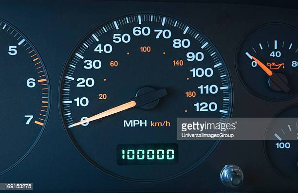 An automobile odometer with 100000 miles shown