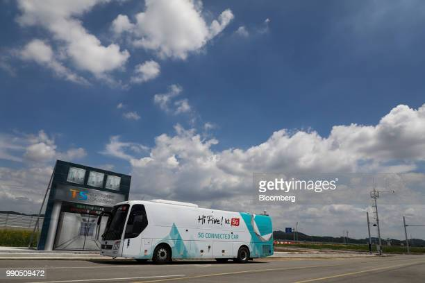 An autonomous 5G connected bus operated by KT Corp sits parked at KCity in Hwaseong South Korea on Tuesday July 3 2018 The South Korean Ministry of...