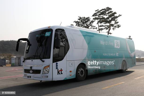 An autonomous 5G connected bus operated by KT Corp sits parked during a media event in Gangneung Gangwon Province South Korea on Wednesday Feb 14...
