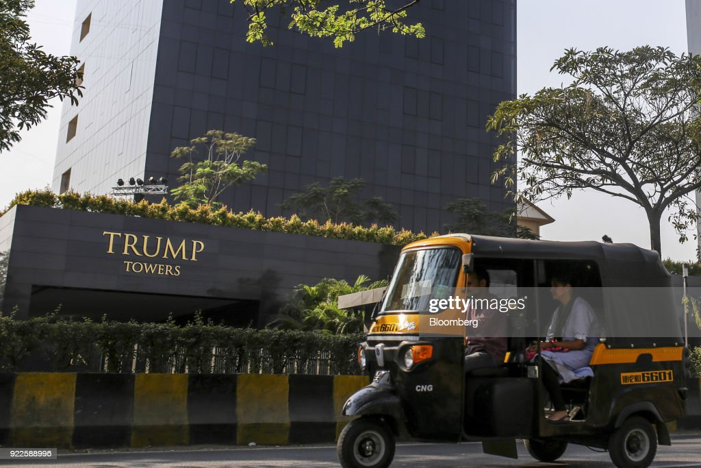 An auto-rickshaw passes the Trump Towers Pune complex, developed by Panchshil Corp Park Pvt., in Pune, Maharashtra, India, on Wednesday, Feb. 21, 2018. Donald Trump Jr. is slated to speak on foreign policy at an event in New Delhi where Indian Prime MinisterNarendra Modiis also scheduled to speak. Photographer: Dhiraj Singh/Bloomberg via Getty Images