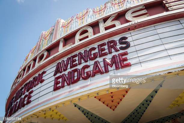 An Avengers Endgame marquee is displayed at the Grand Lake theater in Oakland California US on Monday April 29 2019 The movie took in $122 billion in...