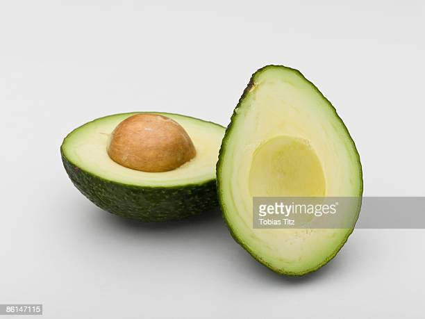 An avocado cut in half
