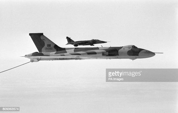 An Avro Vulcan in flight on it's last scramble from RAF Waddington. Accompanied by a SEPECAT Jaguar jet the flight marked the retirement of the...