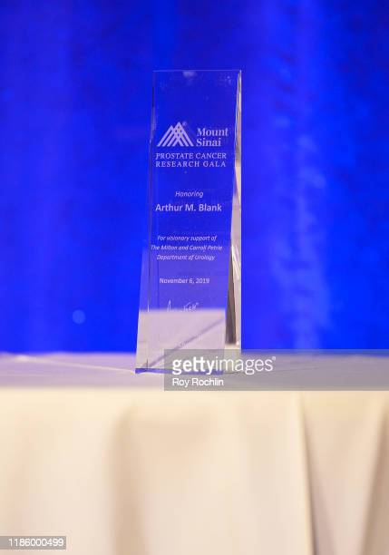 An award is seen on display during 2019 Mount Sinai Prostate Cancer Research Gala at Cipriani 42nd Street on November 06 2019 in New York City