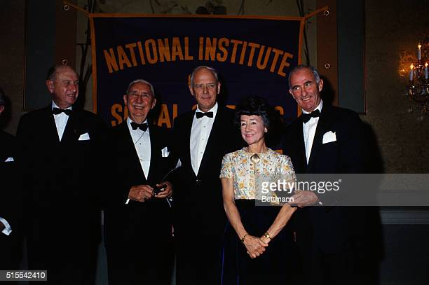An awards dinner for the National Institute of Social Sciences Gold Medals given annually for distinguished service to humanity Left to right Eugene...