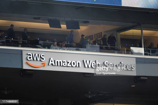 An AWS - Amazon Web Services ad board shown inside Century Link Field during an NFL game between the Los Angeles Rams and the Seattle Seahawks on...