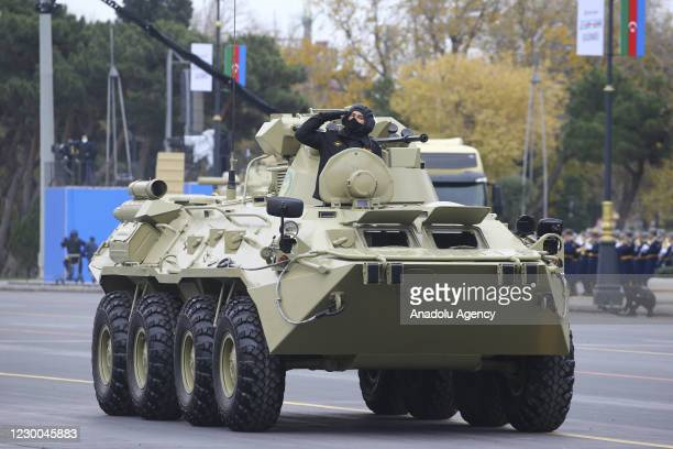 An Azerbaijani armoured vehicle is being displayed during the Victory Parade held to celebrate Azerbaijani army's victory in Nagorno-Karabakh at...