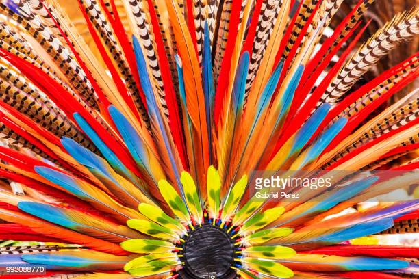 an aztec headdress in mexico city - multi colored hat stock pictures, royalty-free photos & images