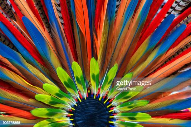 an aztec headdress - headdress stock pictures, royalty-free photos & images