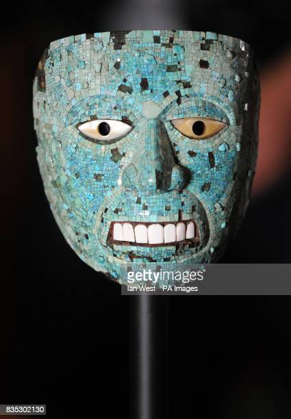 An Aztec mask possibly representing Xiuhtecuhtli made of Cedro wood and covered in turquoise mosaic from 15th16th Century Mexico is unveiled at the...
