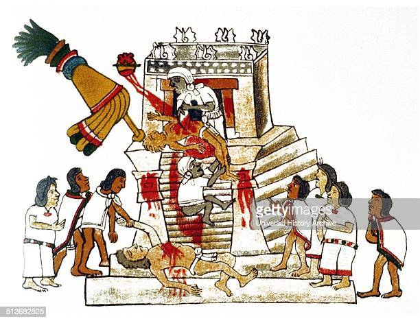 An Aztec priest performing the sacrificial offering of a living human's heart to the war god Huitzilopochtli The deity was the national god of the...