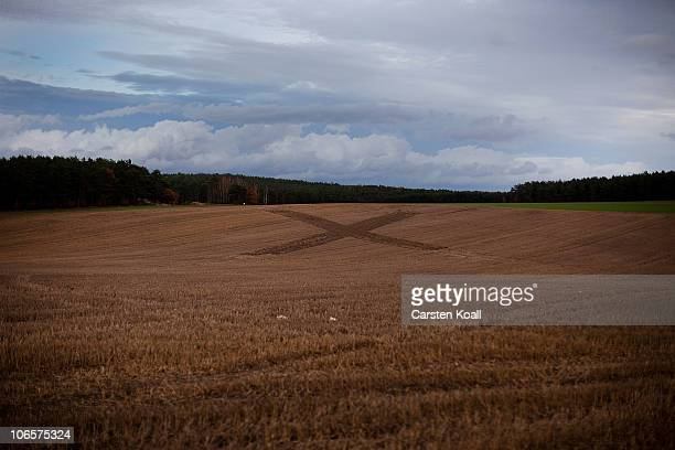 An big X the traditional symbol in this of the 30years old protest in this countryside against the nuclear waste transports on November 5 2010 in...
