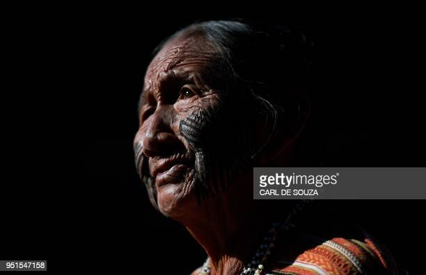 TOPSHOT An Brazilian indigenous woman at the Acampamento Terra Livre in Brasilia on April 26 2018 Approximately 2500 indigenous people from different...