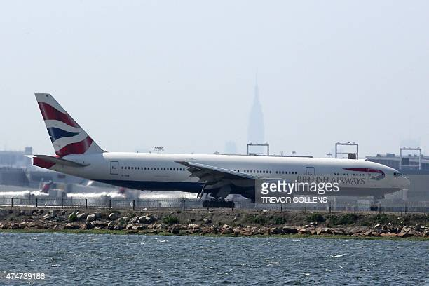 An British Airways jet on the runway at New York's John F. Kennedy Airport, May 25, 2015. US warplanes were scrambled to escort an Air France...