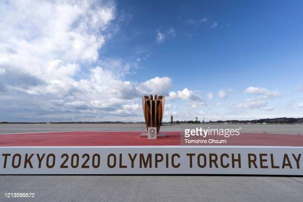 An cauldron is seen on the stage ahead of the Tokyo 2020 Olympic Games Flame Arrival Ceremony at the Japan Air SelfDefense Force Matsushima Air Base...