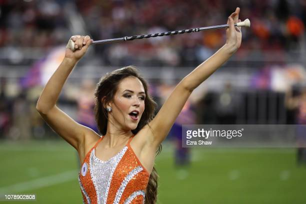 An Clemson Tigers cheerleader performs prior to the CFP National Championship against the Alabama Crimson Tide presented by ATT at Levi's Stadium on...