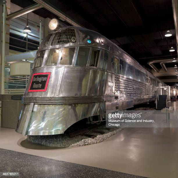An close up image of the 1934 Pioneer Zephyr 'Silver Streak' streamlined diesel powered train which is part of a collection of transportation...