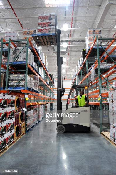 An Costco Wholesale Corp Employee Uses A Forklift Truck