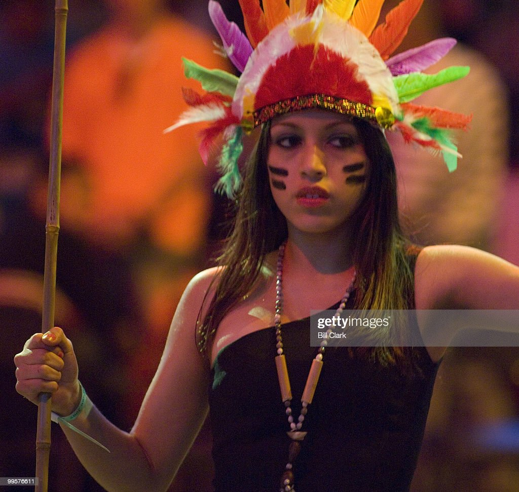 An dancer with the group Inca Son, of Peru, performs during their War Dance presentation on the floor of the Verizon Center in Washington as the National Powwow gets underway on Friday, Aug. 10, 2007. The 3-days of drumming and dancing is organized by the Smithsonian National Museum of the American Indian.