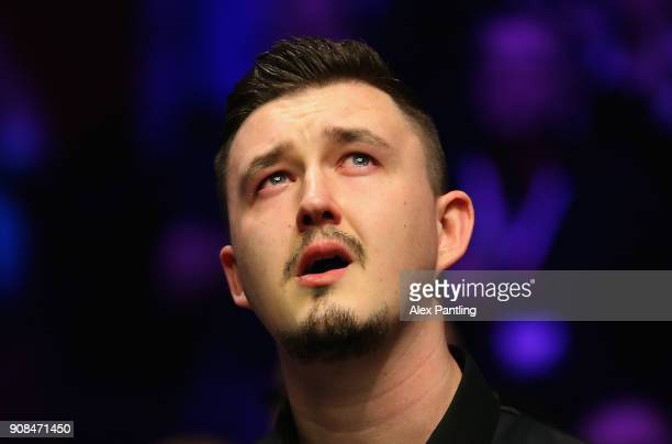An dejected Kyren Wilson looks dejected following defeat in The Dafabet Master Final between Kyren Wilson and Mark Allen at Alexandra Palace on...