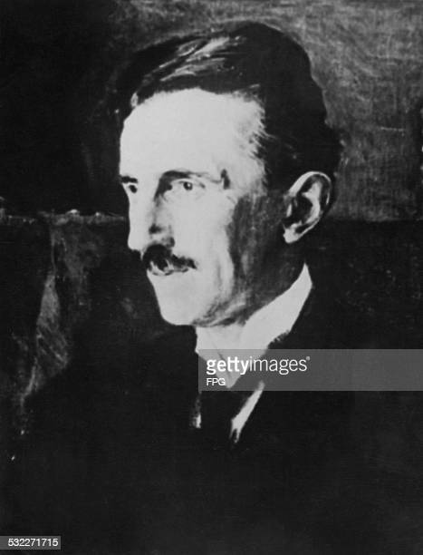 An detail of the portrait of SerbianAmerican inventor and engineer Nikola Tesla by Hungarian princess Vilma LwoffParlaghy 1916 The painting is known...