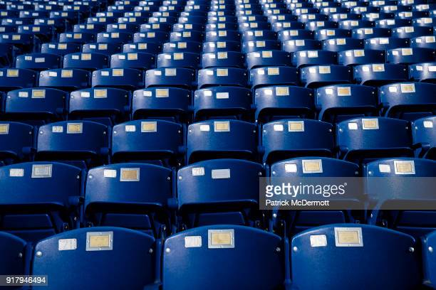 An detail view of seats during a tour of the NavyMarine Corps Memorial Stadium the site of the 2018 Coors Light NHL Sadium Series game between the...