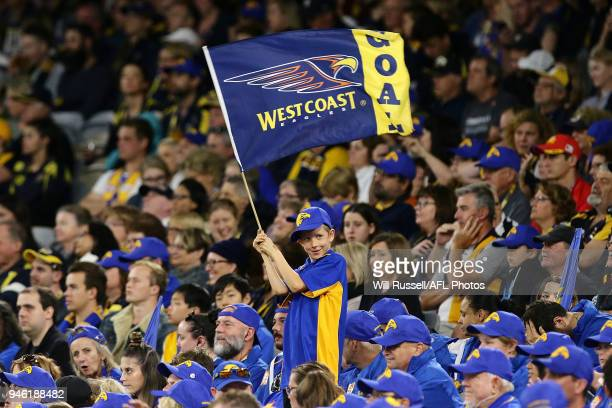 An Eagle fan shows his support during the round four AFL match between the West Coast Eagles and the Gold Coast Suns at Optus Stadium on April 14...