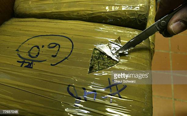 An Eagle Pass Border Patrol agent cuts open a bag of marijuana smuggled across the USMexico border February 05 2003 Almost 700 pounds of drugs...