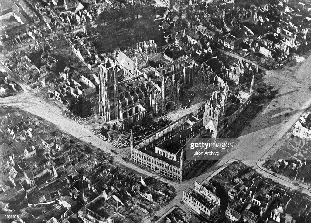 An early aerial photograph of the Belgium town of Ypres, the site of three major battles during World War I, and almost completely devastated by bombing.