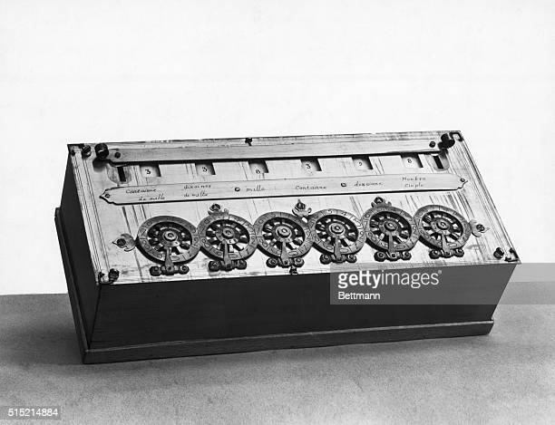 An early calculating machine invented by French scientist and philosopher Blaise Pascal