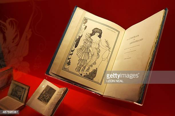 An early erotic graphic novel 'Lysistrata' from 1876 is displayed at the 'Comics Unmasked Art and Anarchy in the UK' exhbition at the British Library...