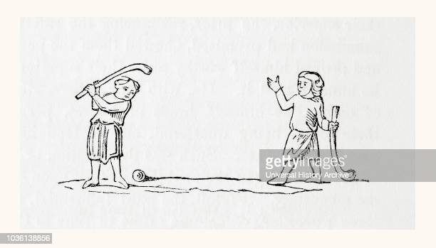 An early form of hockey or bandy ball From Old England A Pictorial Museum published 1847