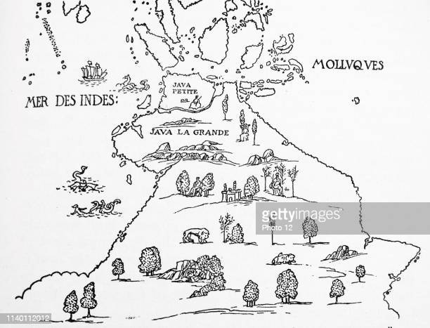 An early map of 'Terra Australis' called 'Java La Grande' in its supposed eastern part From the 'Dauphin' map of 1546