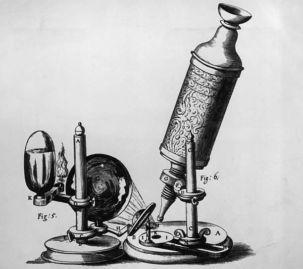 An early microscope designed by Robert Hooke,1665....
