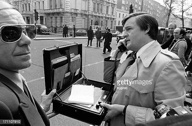 An early mobile phone during the Iranian Embassy siege at Princes Gate South Kensington London 1980