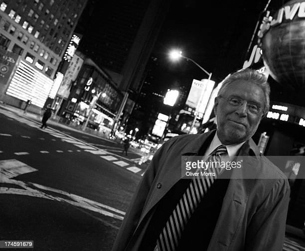 An early morning portrait of Wolf Blitzer Senior Anchor of CNN in Times Square following President George W Bush's win over Senator John Kerry in the...