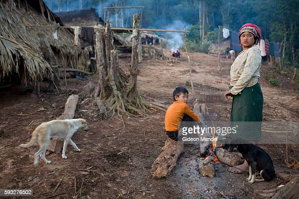 An early morning scene in the Ban Nam Lai Akha village The Akha are a hill tribe of subsistence farmers known for their artistry This is one of the...